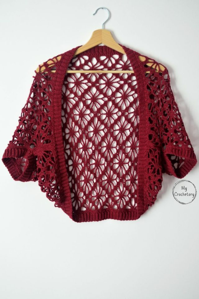 Meadow Lace Shrug Free Crochet Pattern Mycrochetory