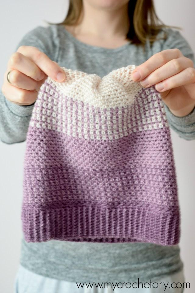 Ombre Moss Stitch Beanie Free Crochet Pattern Mycrochetory