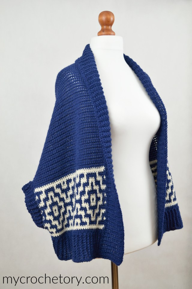 Learn how to turn two crochet rectangles into a shrug. Mosaic Cocoon Cardigan free crochet pattern by mycrochetory.com