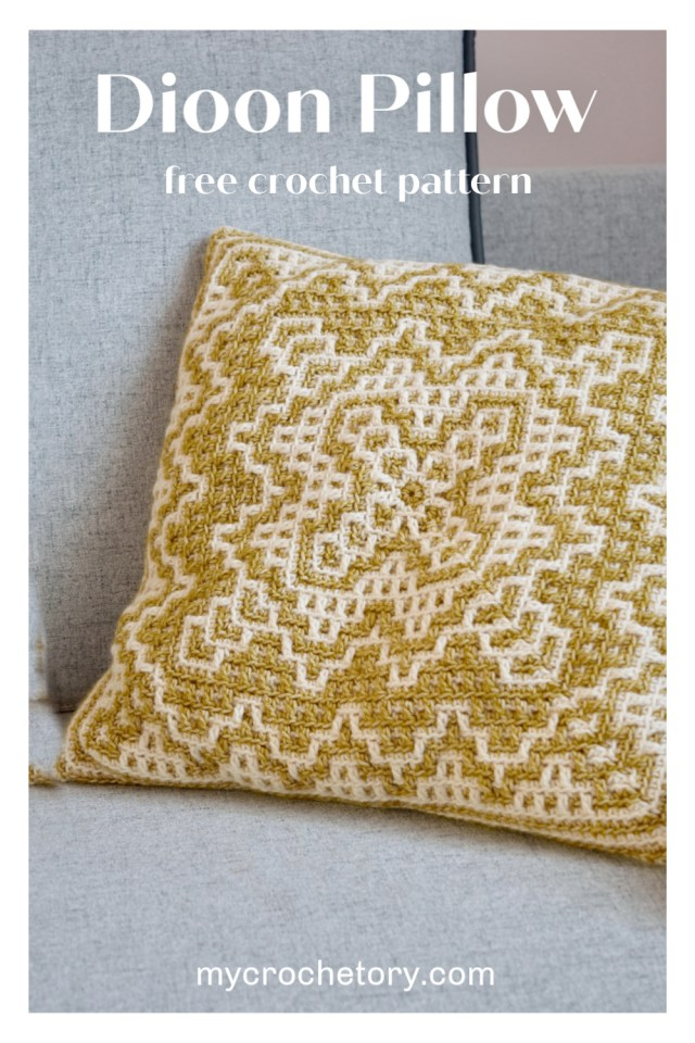 Dioon Pillow - free mosaic crochet pillow pattern by mycrochetory.com
