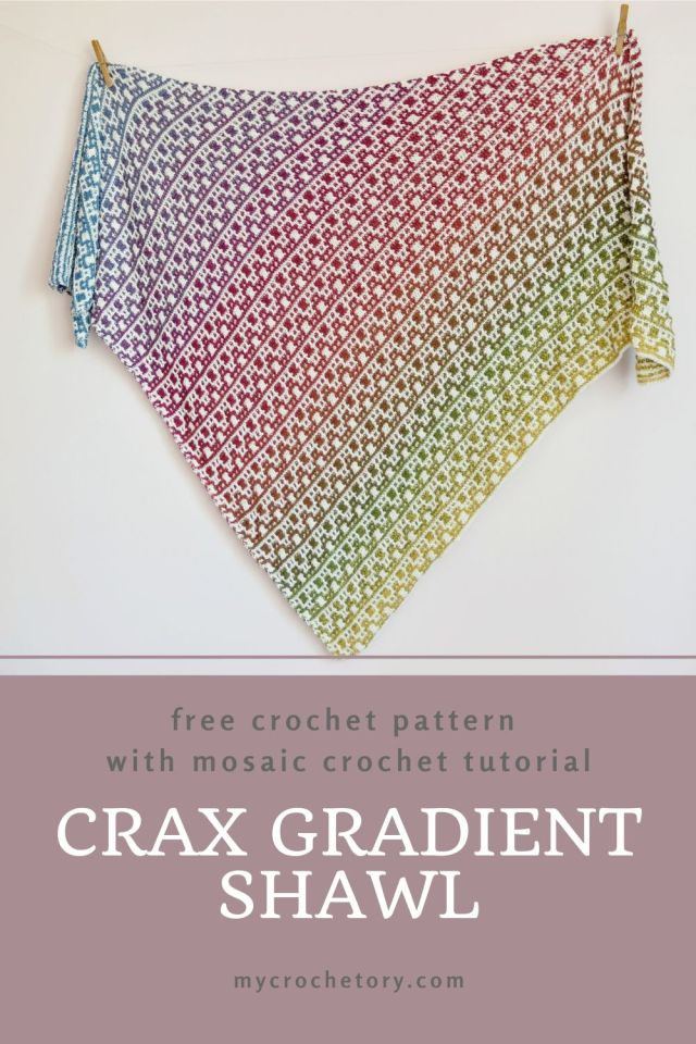 Crax Gradient Shawl free crochet pattern with step-by-step mosaic crochet tutorial