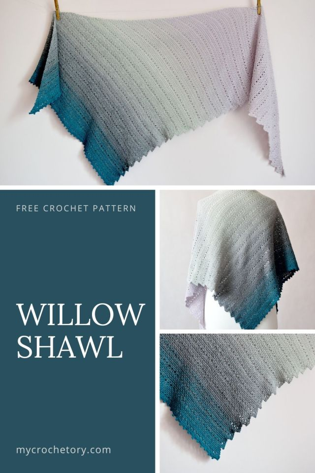 Willow Shawl - free crochet pattern with easy crochet stitches on my blog www.mycrochetory.com