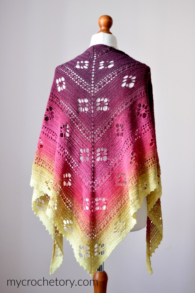 Forsythia Spring Crochet Shawl - beginner-friendly free crochet pattern on my blog mycrochetory.com