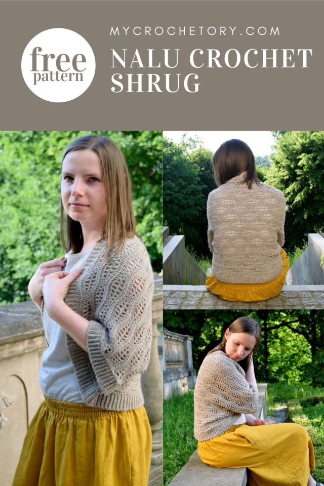 Nalu Crochet Shrug - free crochet pattern. Feminine crochet garment for spring and summer.
