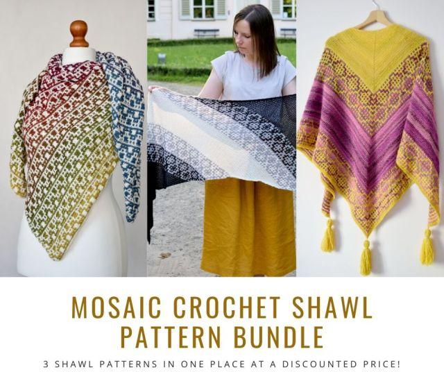 MyCrochetory Mosaic Crochet Shawl Pattern BUNDLE. 3 mosaic crochet shawl patterns in one place at a discounted price in my Etsy SHOP.