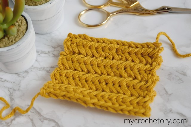 How to crochet Herringbone Stitch. Step-by-step photo tutorial by mycrochetory.com