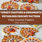 Turkey Coasters Ornaments Potholder Crochet Pattern Mycrochetpattern