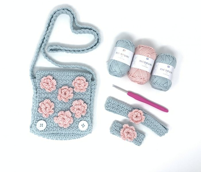 Spring Blossom Shoulder Bag and Accessories Crochet Pattern