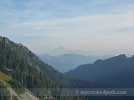 Glacier Peak rising from the smoky haze