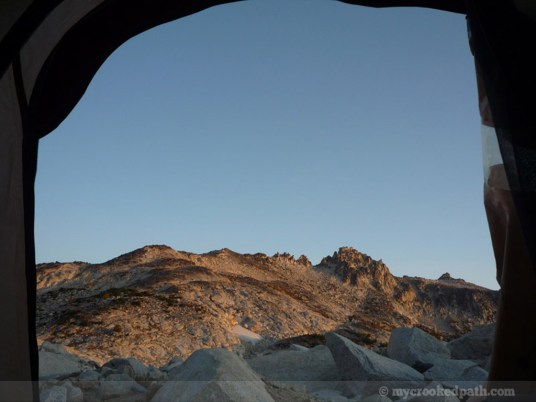 Sunrise from the tent - the Enchantment Peaks
