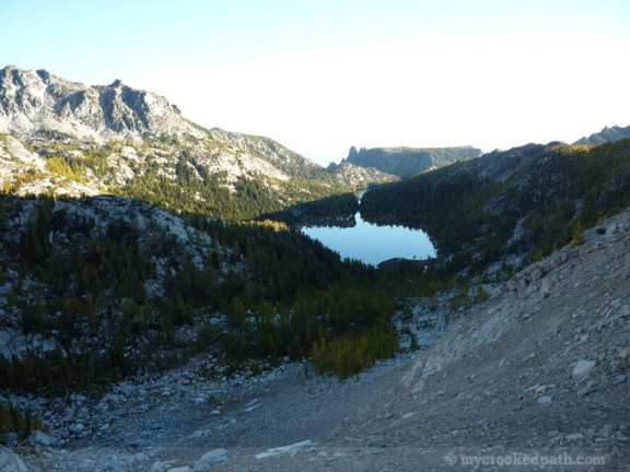 Looking down toward Shield Lake from Prusik Pass