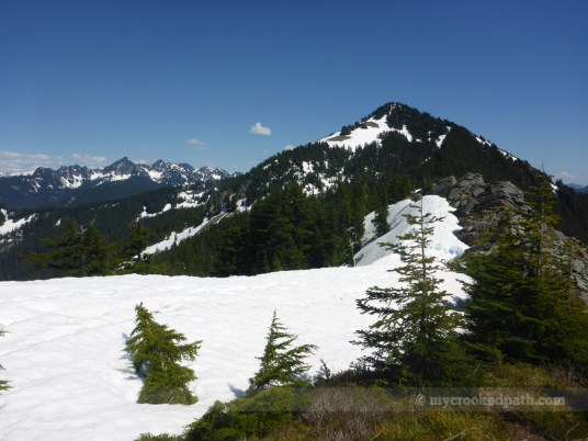 Snow cornice along the ridge, with snow on Defiance