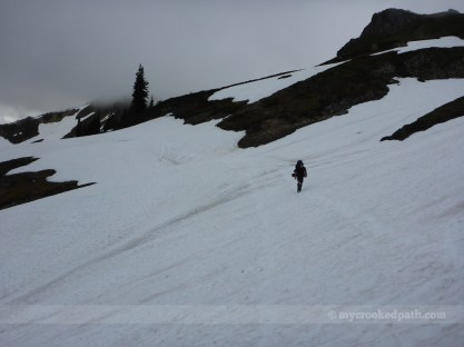 Kim traversing one of many snowfields
