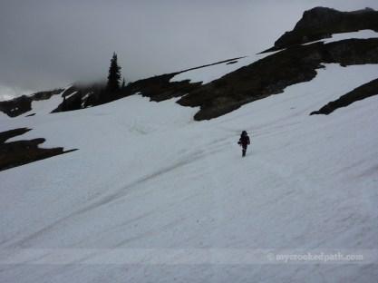 Kim traversing one of many snowfields