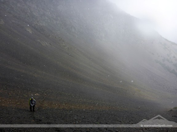 In a sea of scree and mist