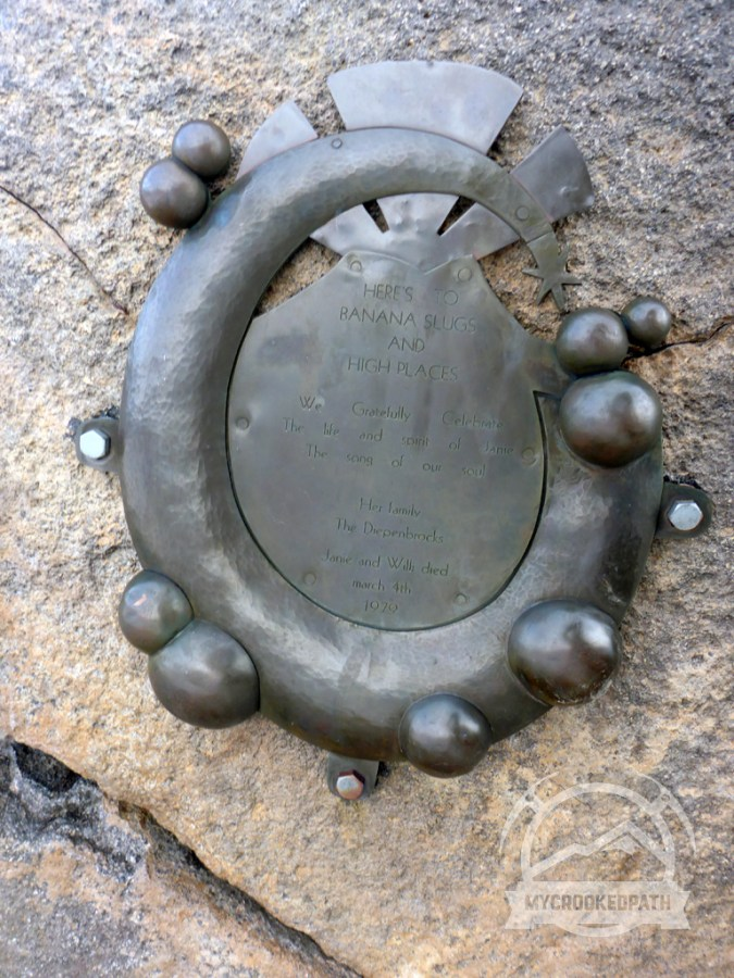 Commemorative plaque on Muir Peak
