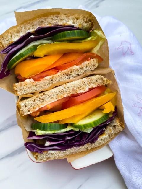 Rainbow Veggie Sandwich