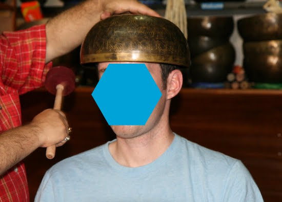 Metal bowl on head