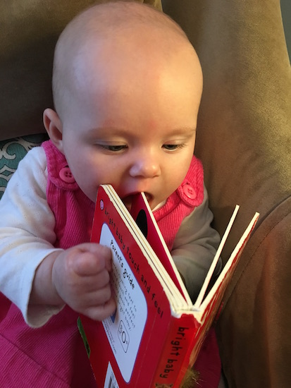 reading and eating a book