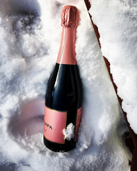 champagne in snow