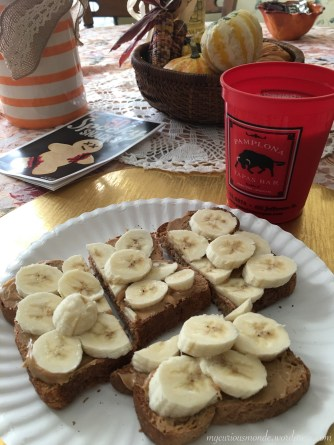 Thankful for peanut butter and bananas on toast...with a side of almond milk!