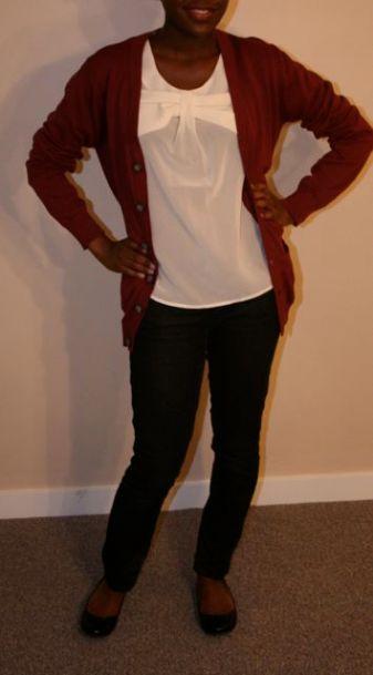 Cream Blouse - $22; Red Cardigan - $20