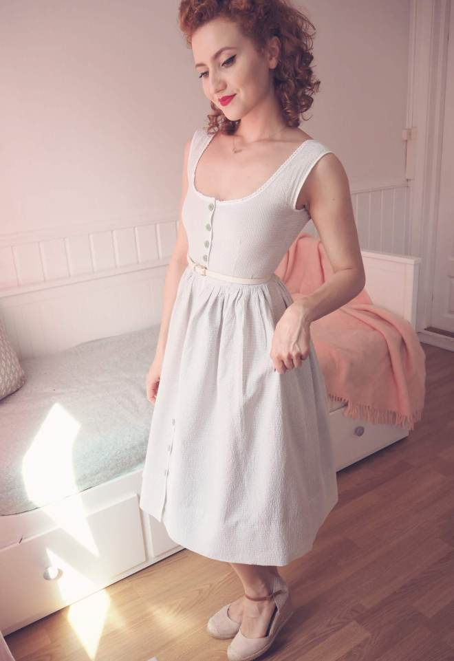 DIY vintage summer dress, buttoned front dress, vintage cotton dress