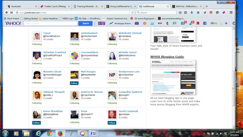Screenshot of JustRetweet Members