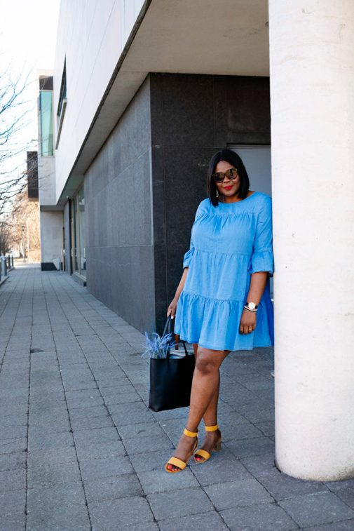 What To Wear to Brunch: Mini Chambray dress