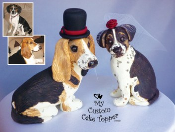 Basset Hound and Puggle Cake Topper