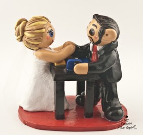 Bride and Groom Arm Wrestling Cake Topper