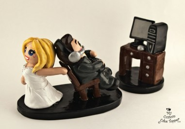 Bride Dragging Her Gaming Groom Cake Topper