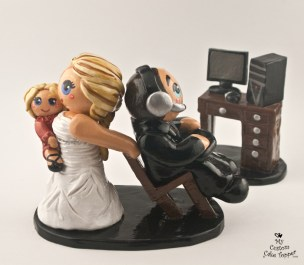 Bride and Baby Dragging Gamer Groom Cake Topper