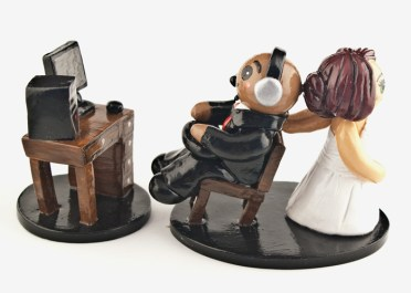 Bride Dragging Computer Gaming Groom Cake Topper