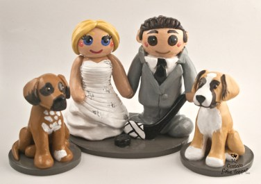 Bride and Groom with Pet Dogs and Hockey