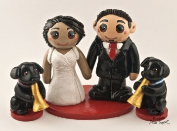 Bride and groom with dogs playing trumpets