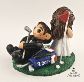 Bride Dragging Groom Golfer Cake Topper