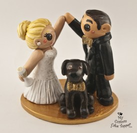 Bride And Groom High Fiving With Dog Cake Topper
