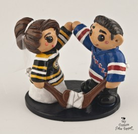 Bride And Groom Hockey Fans Boston Bruins and New York Rangers Cake Topper