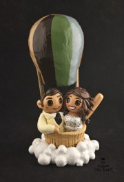 Bride And Groom in a Hot Air Balloon Cake Topper