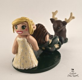 Bride Dragging Her Groom from Hunting Custom Wedding Cake Topper