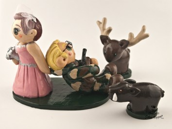 Bride And Groom Hunting Deer And Hog Cake Topper