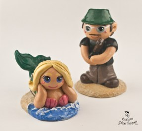 Bride And Groom Fishing A Mermaid Cake Topper