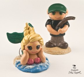 Bride Mermaid And Groom Fisherman Cake Topper