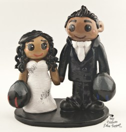 Bride And Groom With Motorcycle Helmets Cake Topper