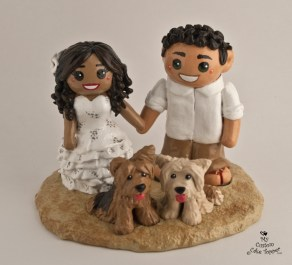 Bride And Groom Beach Wedding With Pet Dogs Cake Topper