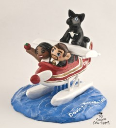 Bride And Groom Air Plane On Water Wedding Cake Topper