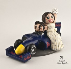 Bride And Groom Riding In Race Car Cake Topper