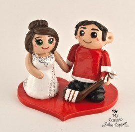 Bride And Groom Red Wings Fans Cake Topper