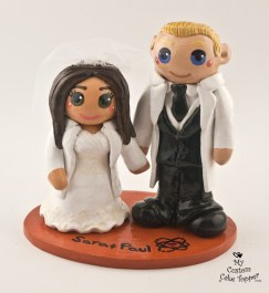 Bride And Groom Scientists Wedding Cake Topper